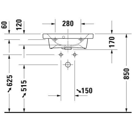 Lavoar Duravit Durastyle Compact 55x40cm, montare pe mobilier