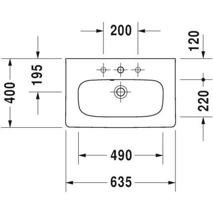 Lavoar Duravit Durastyle Compact 63.5x40cm, montare pe mobilier