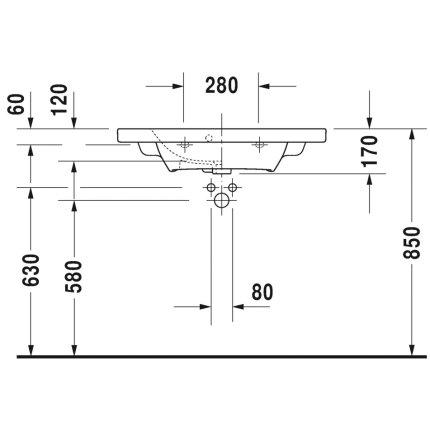Lavoar Duravit Durastyle Compact 78.5x40cm, montare pe mobilier