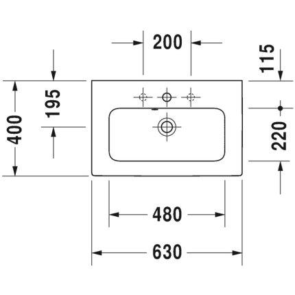 Lavoar Duravit ME by Starck Compact 63x40cm, montare pe mobilier