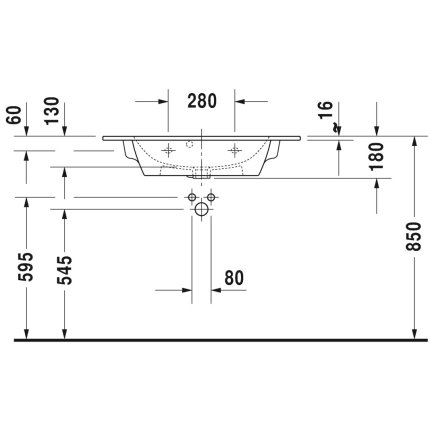 Lavoar Duravit ME by Starck Compact 83x40cm, montare pe mobilier
