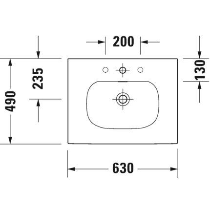 Lavoar Duravit Viu 63x49cm, cu capac ceramic si ventil push-open inclus, finisaj suplimentar