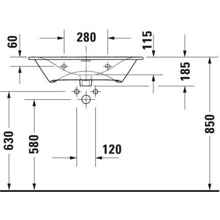 Lavoar Duravit Viu 73x49cm, cu capac ceramic si ventil push-open inclus, finisaj suplimentar