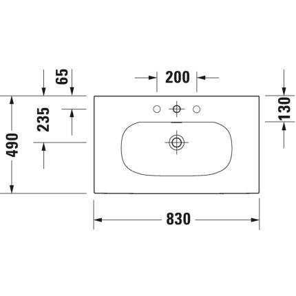 Lavoar Duravit Viu 83x49cm, cu capac ceramic si ventil push-open inclus, finisaj suplimentar