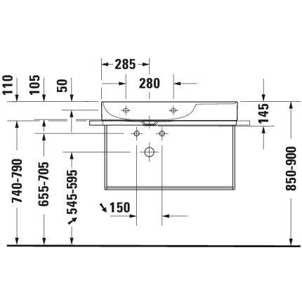 Lavoar Duravit DuraSquare 80x47 cm cuva stanga, fara preaplin, cu capac ceramic pentru ventil inclus si finisaj suplimentar