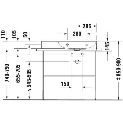 Lavoar Duravit DuraSquare 80x47 cm cuva dreapta, fara preaplin, cu capac ceramic pentru ventil inclus si finisaj suplimentar