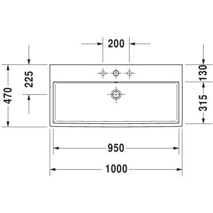 Lavoar Duravit Vero Air 100x47cm, montare pe mobilier