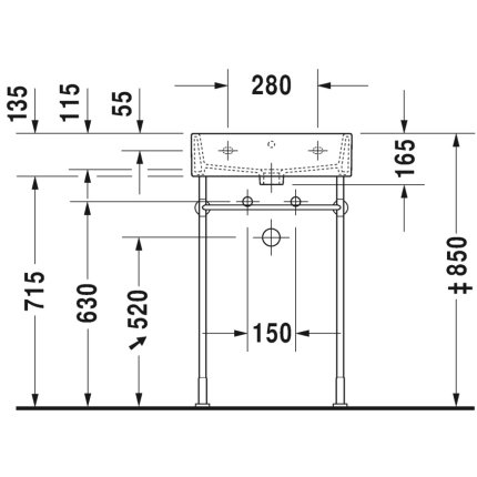 Lavoar Duravit Vero Air 50x47cm, montare pe mobilier