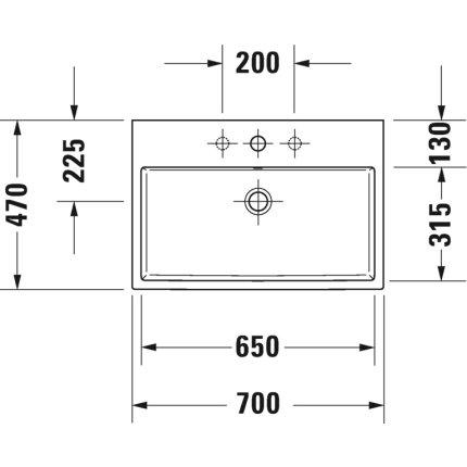 Lavoar Duravit Vero Air 70x47cm, montare pe mobilier