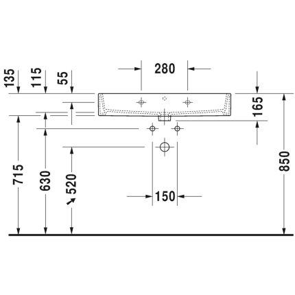 Lavoar Duravit Vero Air 80x47cm, montare pe mobilier