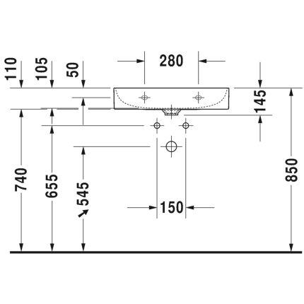 Lavoar Duravit DuraSquare 60x47 cm, fara preaplin, cu capac ceramic pentru ventil inclus si finisaj suplimentar