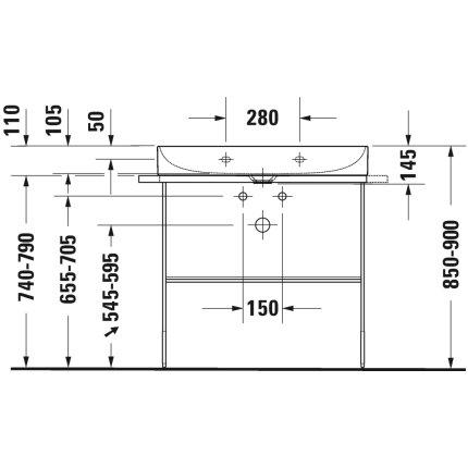 Lavoar Duravit DuraSquare 80x47 cm, fara preaplin, cu capac ceramic pentru ventil inclus si finisaj suplimentar