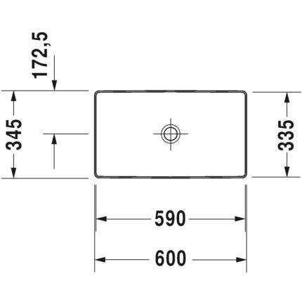 Lavoar tip bol Duravit DuraSquare 60x34.5 cm, fara preaplin, capac ceramic pentru ventil inclus