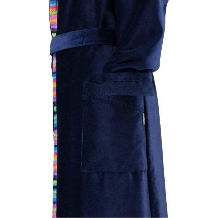 Halat de baie femei Cawo cu guler shal, M, 171 albastru marin