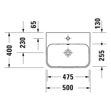 Lavoar Duravit Happy D.2 50x40cm, montare pe mobilier, Antracit Mat