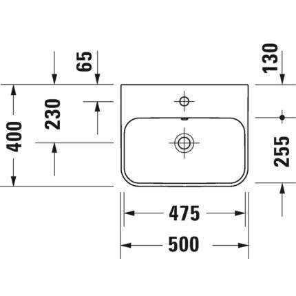 Lavoar Duravit Happy D.2 50x40cm, montare pe mobilier, alb-Antracit Mat