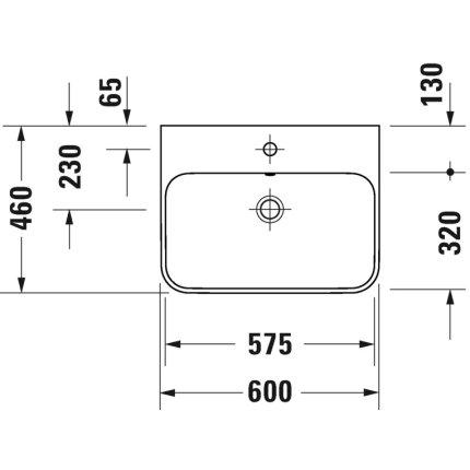 Lavoar Duravit Happy D.2 60x46cm, montare pe mobilier, alb-Antracit Mat