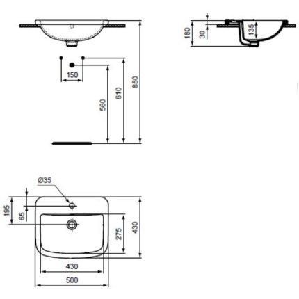 Lavoar Ideal Standard Tempo 50cm, montare in blat
