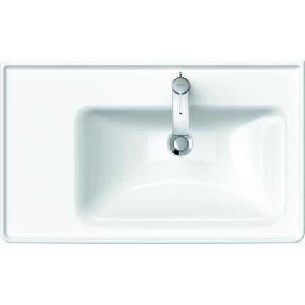 Lavoar asimetric Duravit D-Neo 80cm, montare pe mobilier, orientare dreapta, alb