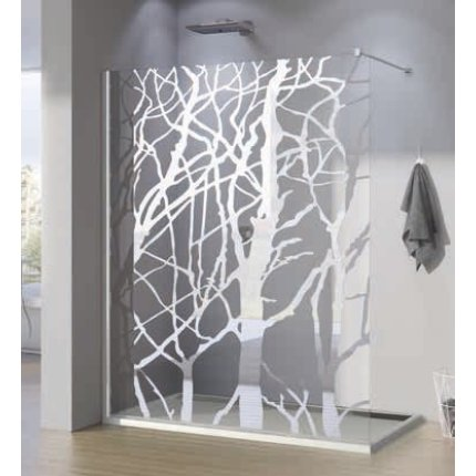 Cabina de dus Walk-In SanSwiss Pur 120 cm, sticla securizata decor Tree, 8 mm