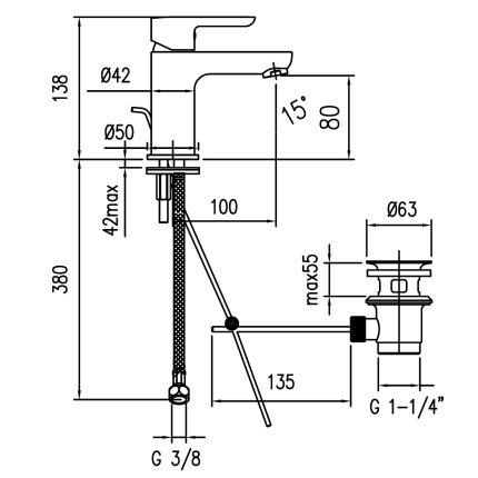 Baterie lavoar Franke Venus, ventil pop-up