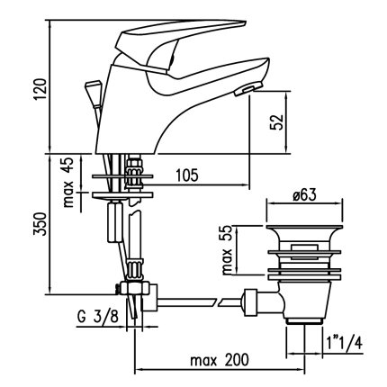 Baterie lavoar Franke Medius, ventil pop-up