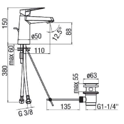 Baterie lavoar Franke Firmus, ventil pop-up
