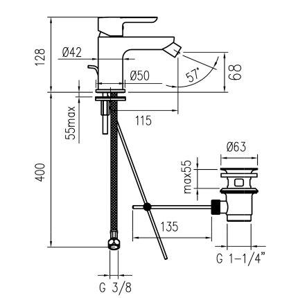 Baterie bideu Franke Venus, ventil pop-up
