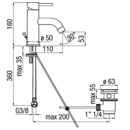 Baterie lavoar Franke Icarus, ventil pop-up