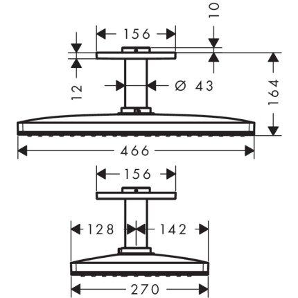 Palarie de dus Hansgrohe Rainmaker Select 460 negru-crom si brat de tavan 100mm, necesita set de baza