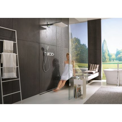 Palarie de dus Hansgrohe Rainmaker Select 460 3 jeturi, cu brat de perete 460mm, alb-crom