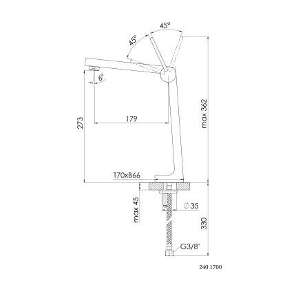 Baterie lavoar Steinberg Expression seria 240 corp inalt, pentru lavoar tip bol, fara ventil