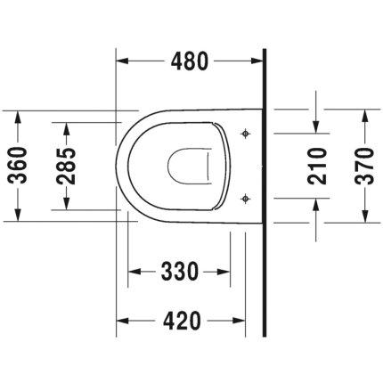 Set vas WC suspendat Duravit ME by Starck Compact Rimless cu capac inchidere lenta