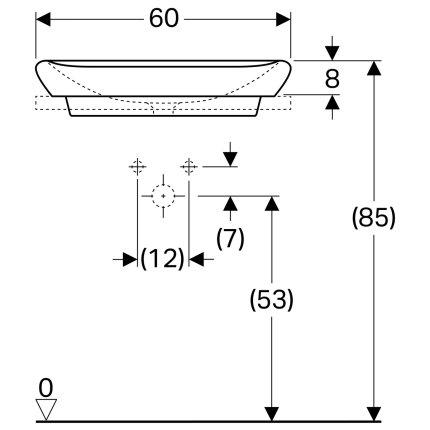 Lavoar tip bol Geberit myDay 60x40cm, fara orificiu baterie, fara preaplin, KeraTect alb
