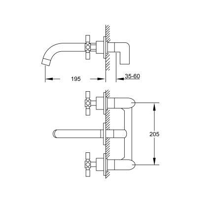 Baterie lavoar Steinberg seria 250 din 3 elemente, pipa 19.5cm, montaj pe perete, corp ingropat inclus, crom