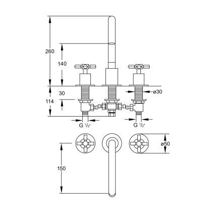Baterie lavoar Steinberg seria 250 din 3 elemente, pipa 19.5cm, montaj pe lavoar, Matt Black