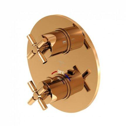 Baterie cada Steinberg seria 250 termostatata, cu doi consumatori, montaj incastrat, necesita corp ingropat, Rose Gold