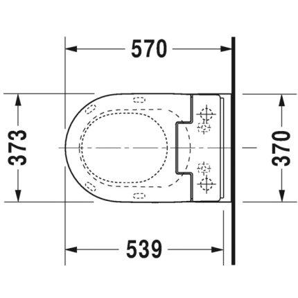 Vas WC suspendat Duravit ME by Starck, 57x37cm, pentru capac cu functie bideu SensoWash