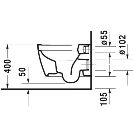 Vas WC suspendat Duravit Me by Starck Rimless Compact, 48x37cm