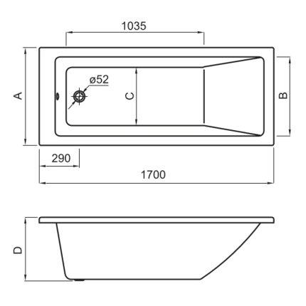 Cada baie rectangulara Roca Nolah 170x75cm, acril