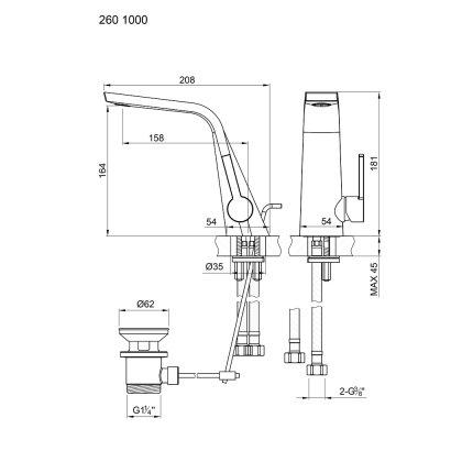 Baterie lavoar Steinberg seria 260 , ventil pop-up, Rose Gold