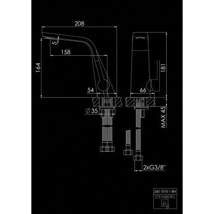 Baterie lavoar Steinberg Seria 260 Brushed Nickel, fara ventil