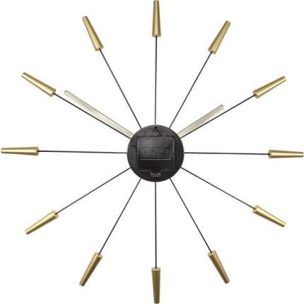 Ceas de perete NeXtime Plug Inn 58cm, auriu