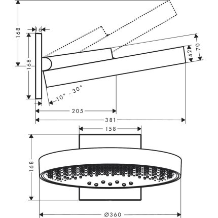 Palarie de dus Hansgrohe Rainfinity 360, 3 tipuri de jet, cu placa de conectare la perete, alb mat