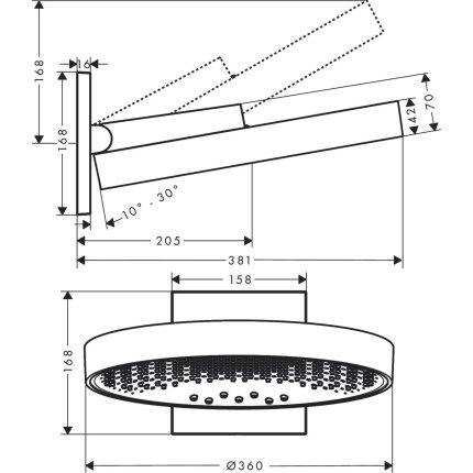 Palarie de dus Hansgrohe Rainfinity 360, 3 tipuri de jet, cu placa de conectare la perete, crom
