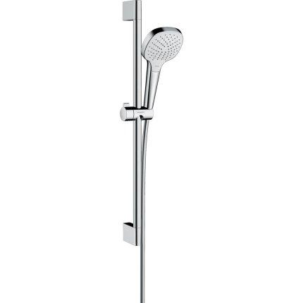 Set de dus Hansgrohe Croma Select E Vario EcoSmart 9l/min, alb-crom cu bara de 0.65 m