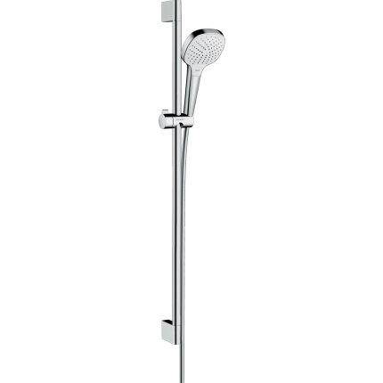 Set de dus Hansgrohe Croma Select E Vario EcoSmart 9l/min, cu bara de 0.90m alb/crom