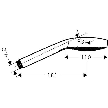 Para de dus Hansgrohe Croma Select E Multi, cu trei tipuri de jet