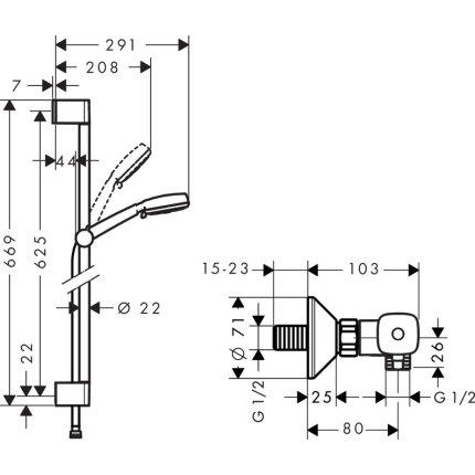 Baterie dus termostatata Hansgrohe Ecostat Universal cu set de dus Crometta 100 Vario cu bara 0.65m