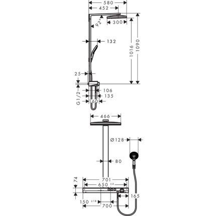 Coloana de dus Hansgrohe Rainmaker Select 460 2jet alb-crom, cu baterie termostatata ShowerTablet Select 700